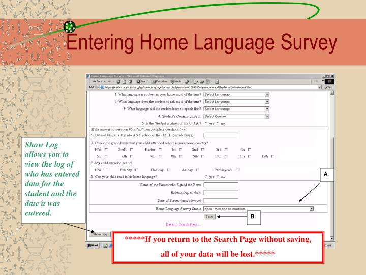 Entering Home Language Survey