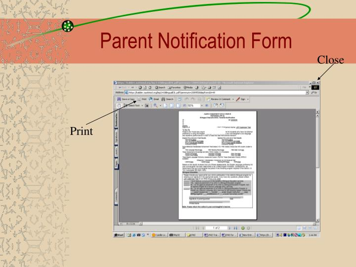 Parent Notification Form