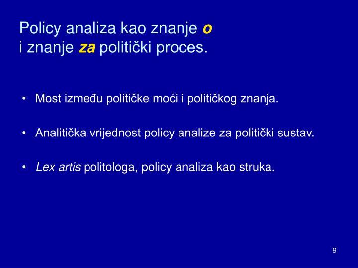 Policy analiza kao znanje