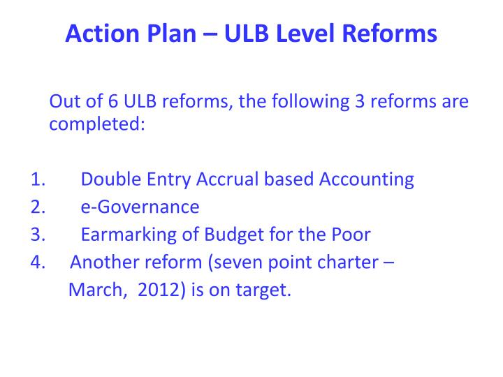 Action Plan – ULB Level Reforms