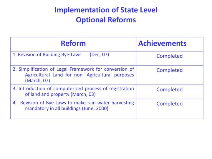 Implementation of State Level