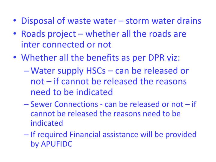Disposal of waste water – storm water drains