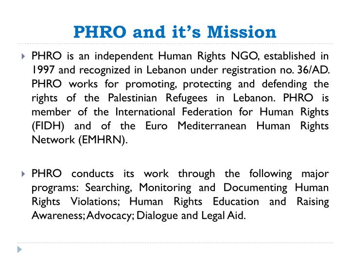 Phro and it s mission