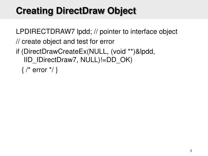 Creating DirectDraw Object