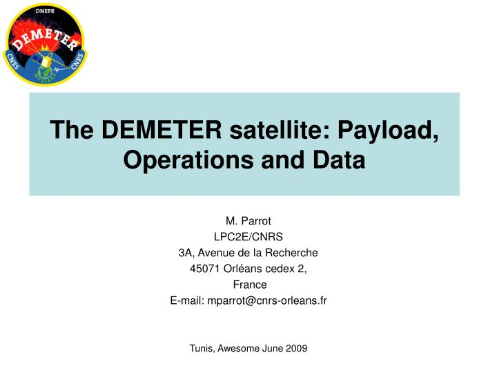 the demeter satellite payload operations and data n.