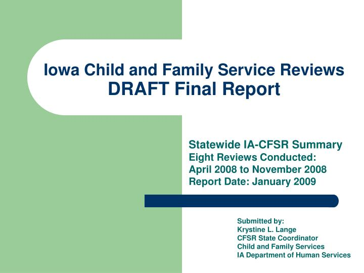 iowa child and family service reviews draft final report n.