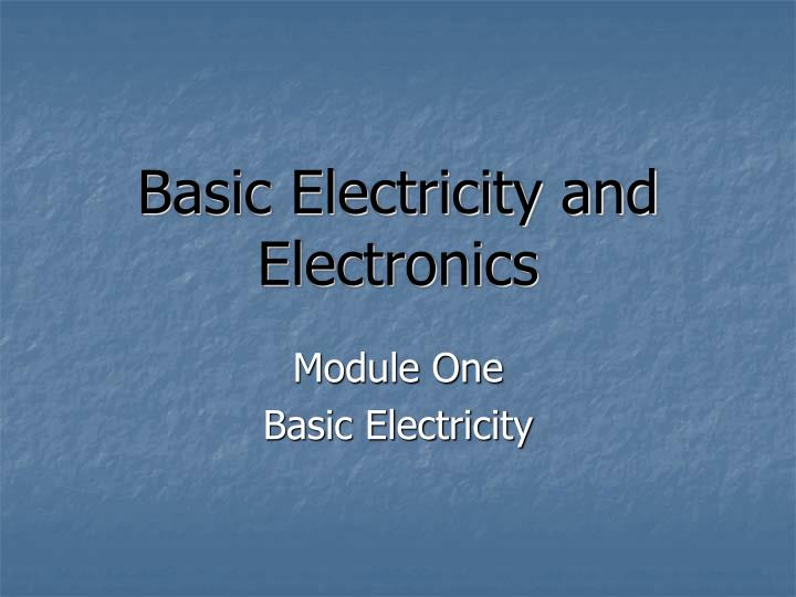 basic electricity and electronics n.