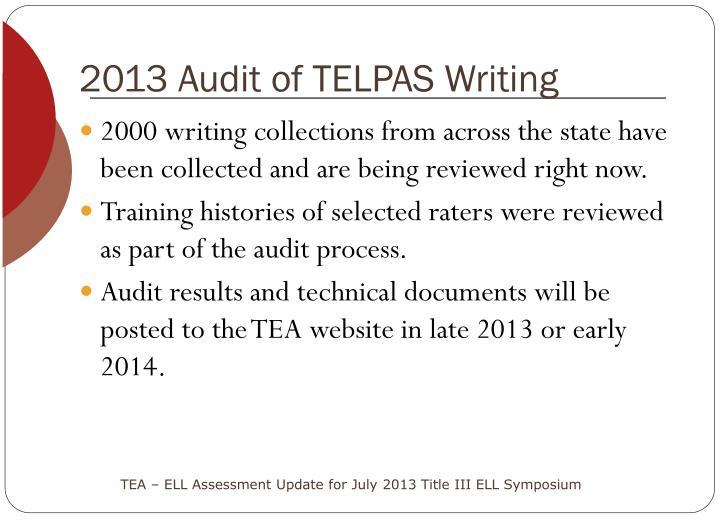 2013 Audit of TELPAS Writing