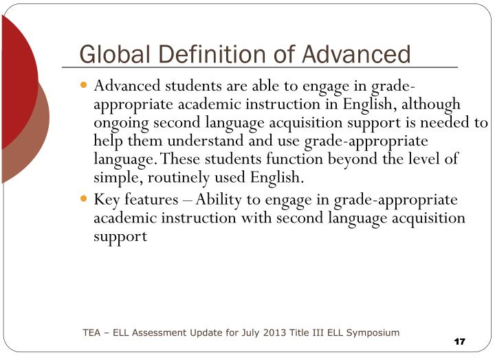 Global Definition of Advanced