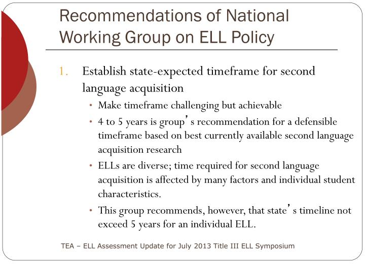 Recommendations of National
