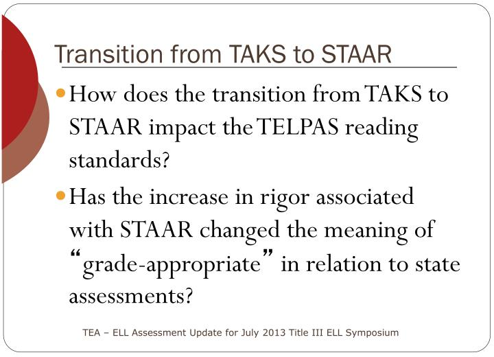 Transition from TAKS to STAAR