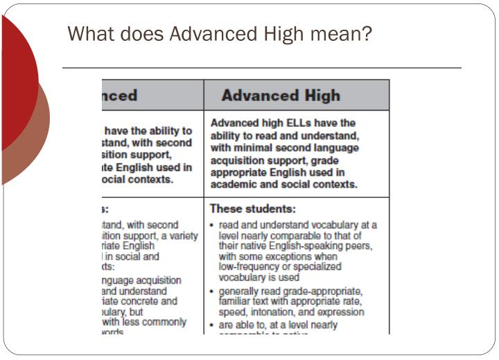 What does Advanced High mean?