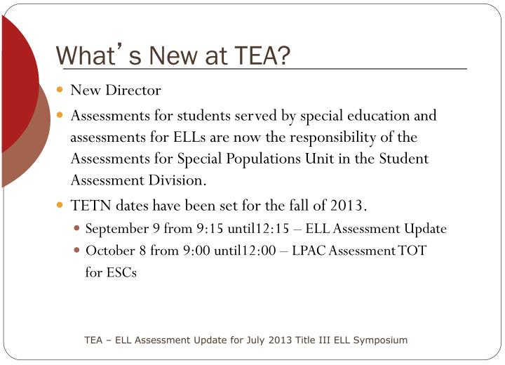 What s new at tea