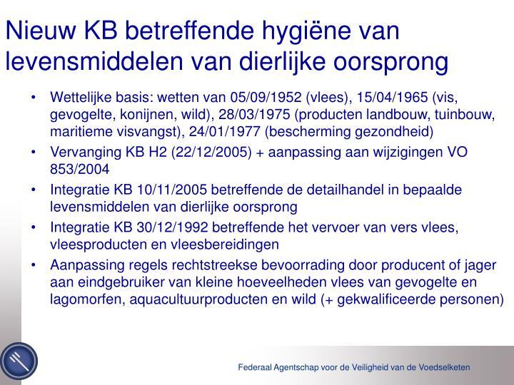 Nieuw KB betreffende hygiëne van levensmiddelen van dierlijke oorsprong
