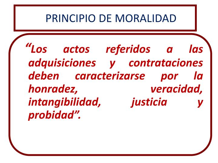 PRINCIPIO DE MORALIDAD