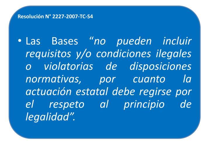 Resolución N° 2227-2007-TC-S4