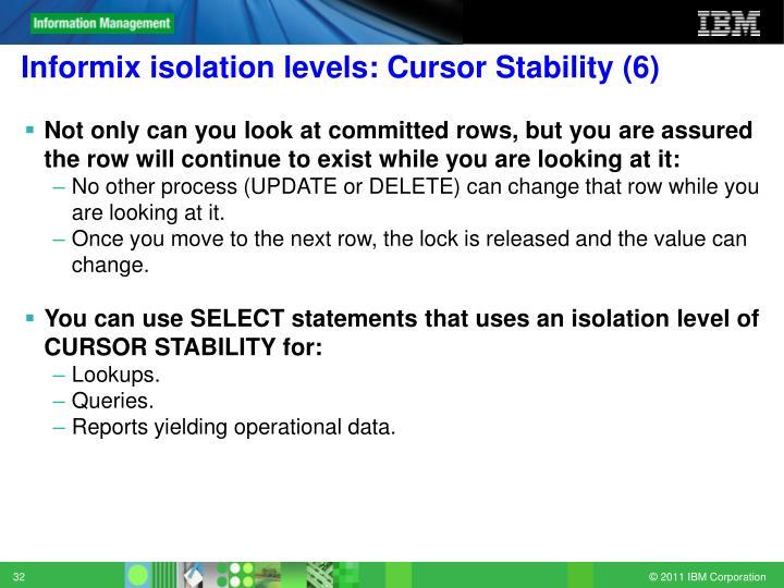 Informix isolation levels: Cursor Stability (6)
