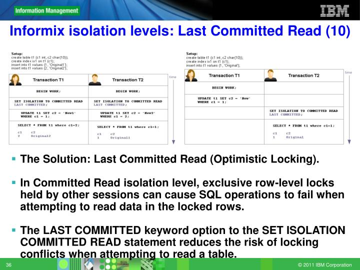 Informix isolation levels: Last Committed Read (10)