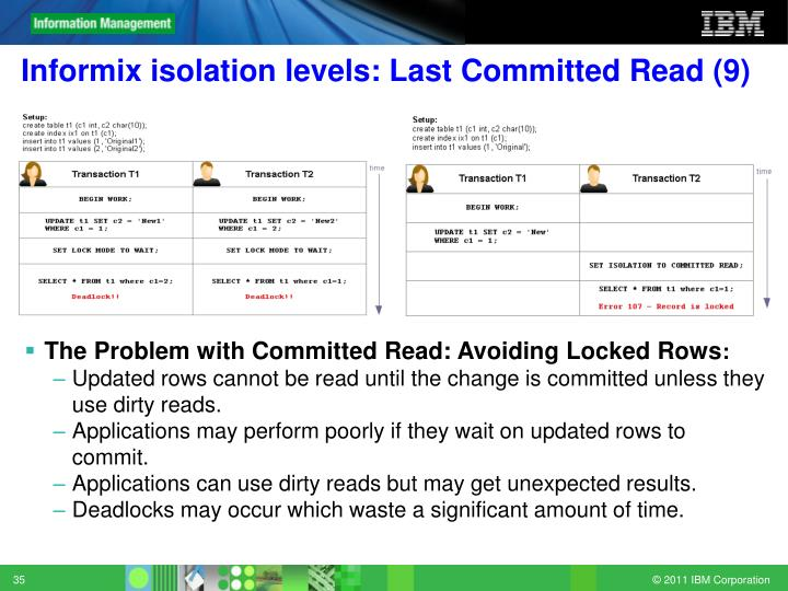 Informix isolation levels: Last Committed Read (9)