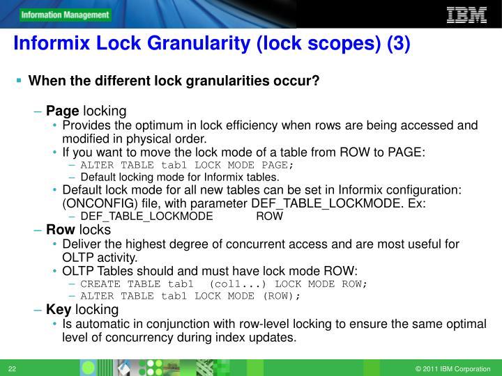 Informix Lock Granularity (lock scopes) (3)
