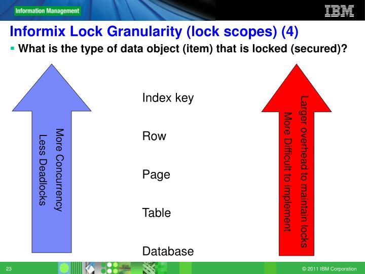 Informix Lock Granularity (lock scopes) (4)