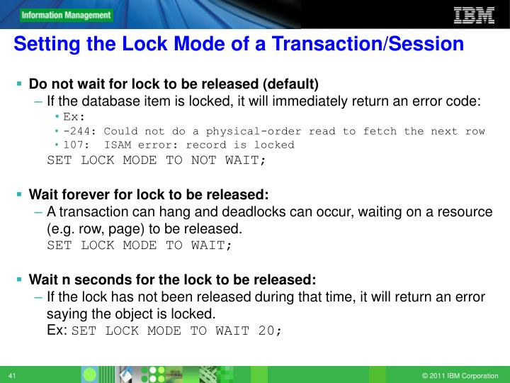 Setting the Lock Mode of a Transaction/Session