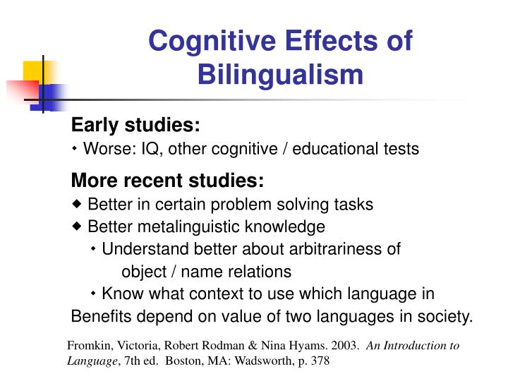 effect of bilingualism Learn the impact of bilingualism on overall language development and academic success.