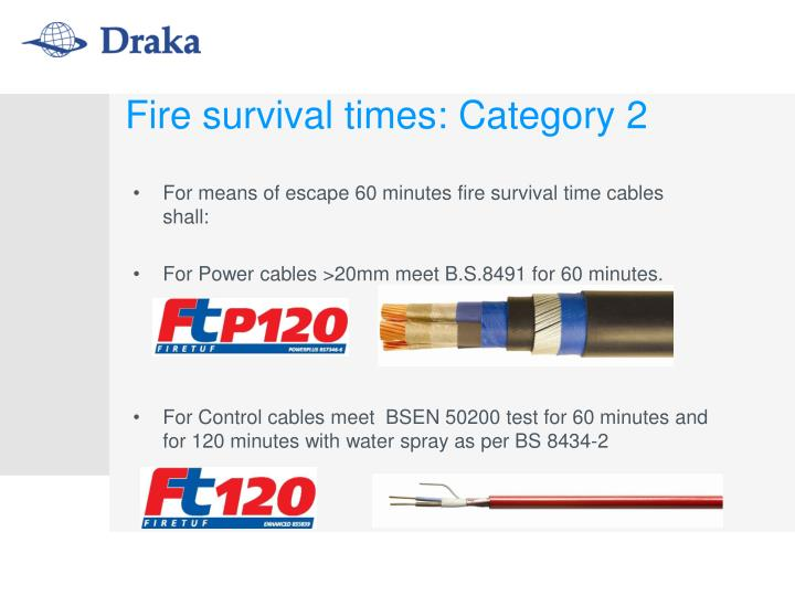 Fire survival times: Category 2