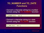 to number and to date functions