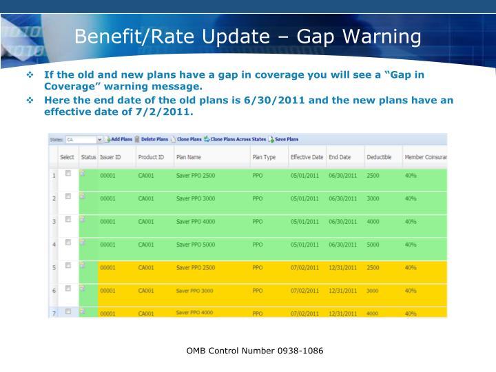 Benefit/Rate Update – Gap Warning