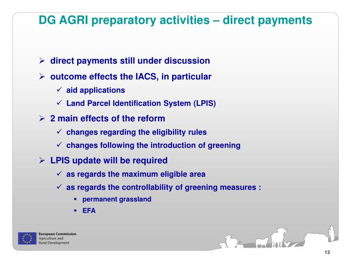 DG AGRI preparatory activities – direct payments