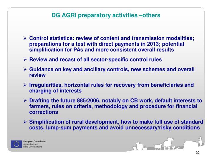 DG AGRI preparatory activities –