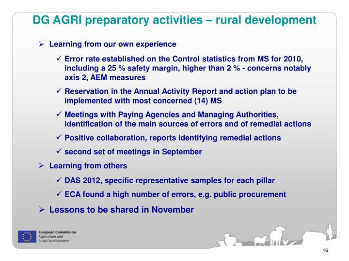 DG AGRI preparatory activities – rural development