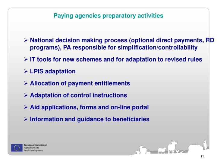Paying agencies preparatory activities
