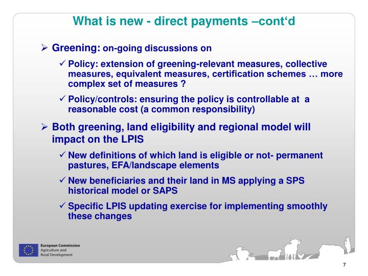 What is new - direct payments –cont'd