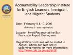 accountability leadership institute for english learners immigrant and migrant students