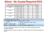 g2xxx no crystal required dco