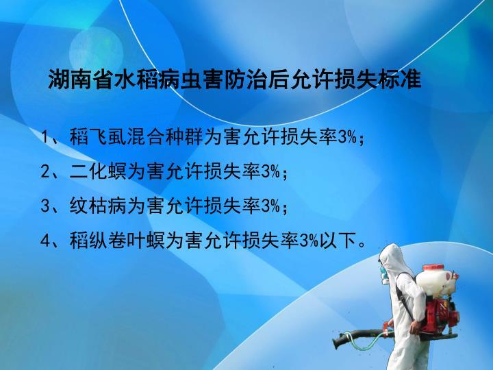 湖南省水稻病虫害防治后允许损失标准
