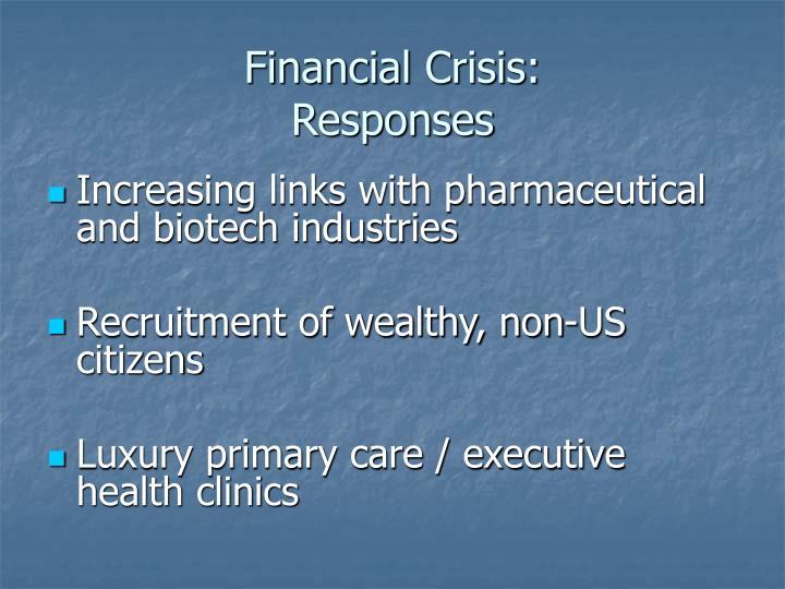 Financial crisis responses