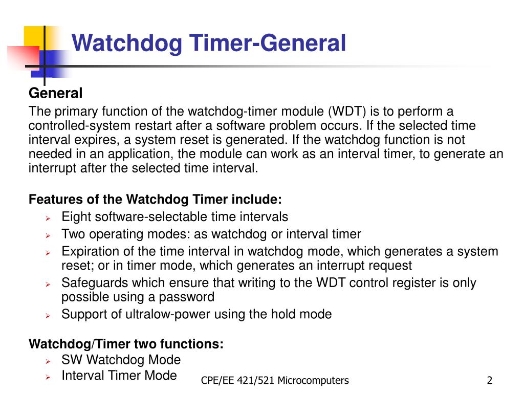 Pic Watchdog Timer Example C