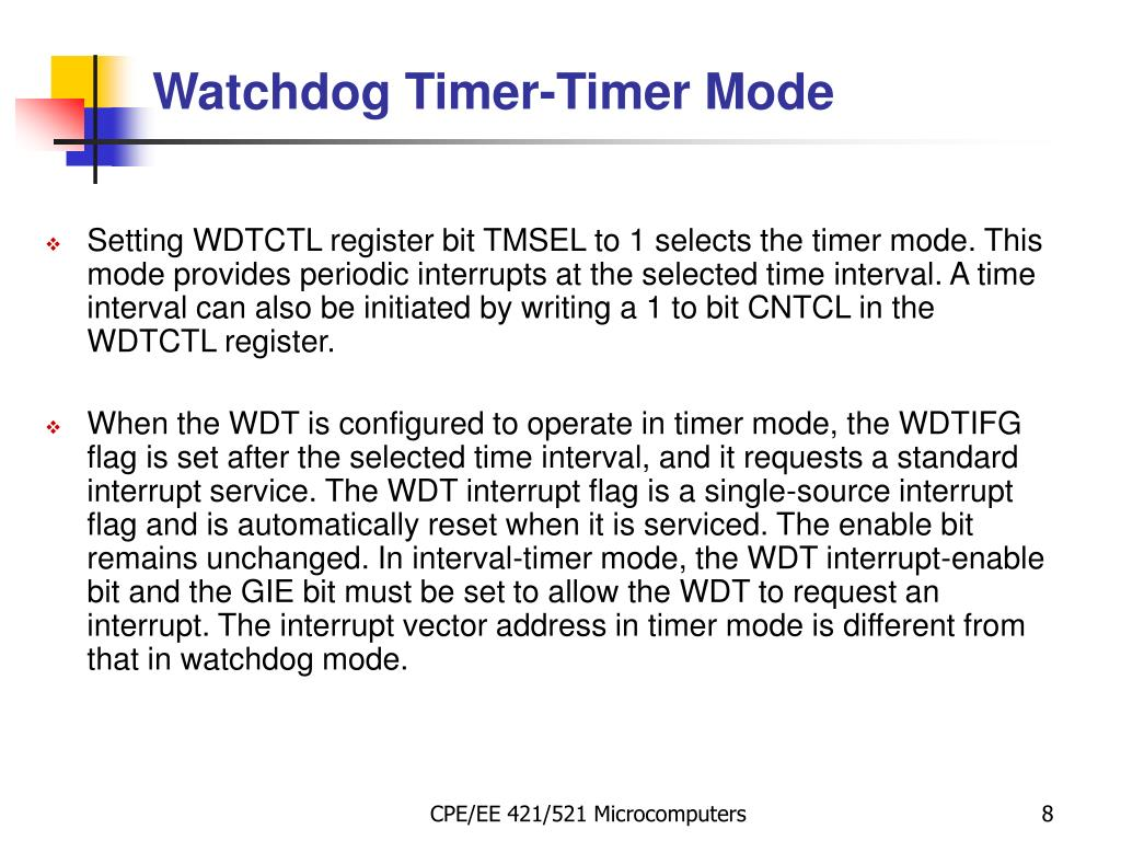 PPT - MSP430: Watchdog Timer PowerPoint Presentation - ID