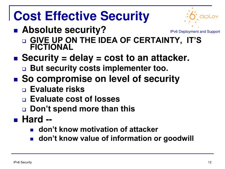 Cost Effective Security
