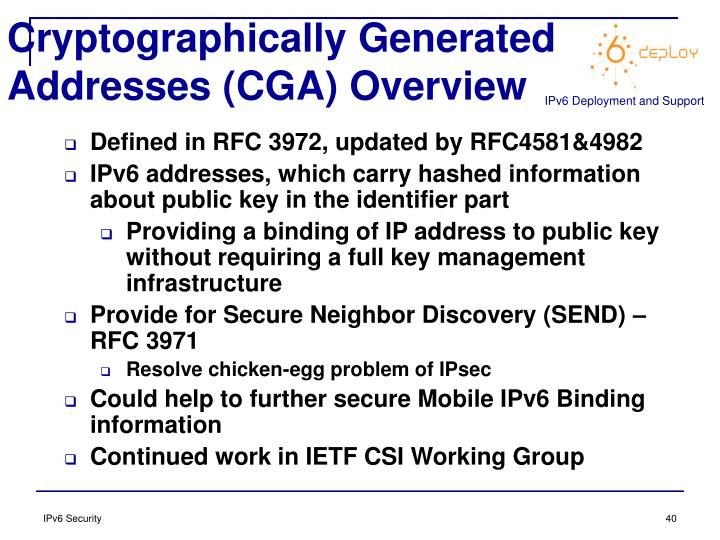 Cryptographically Generated Addresses (CGA) Overview