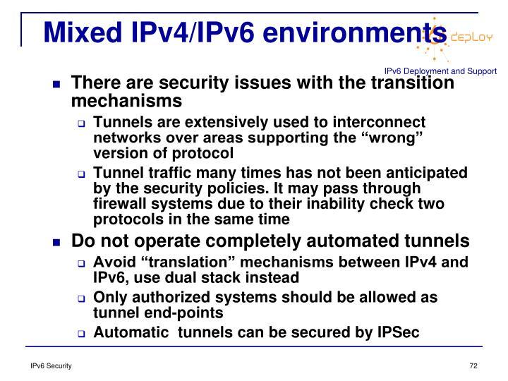Mixed IPv4/IPv6 environments
