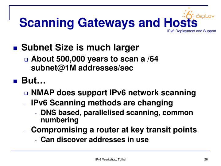 Scanning Gateways and Hosts