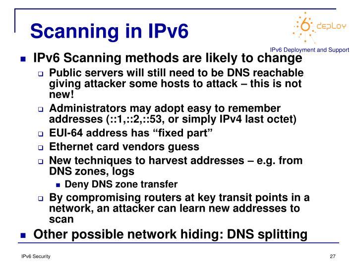 Scanning in IPv6