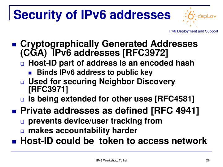 Security of IPv6 addresses