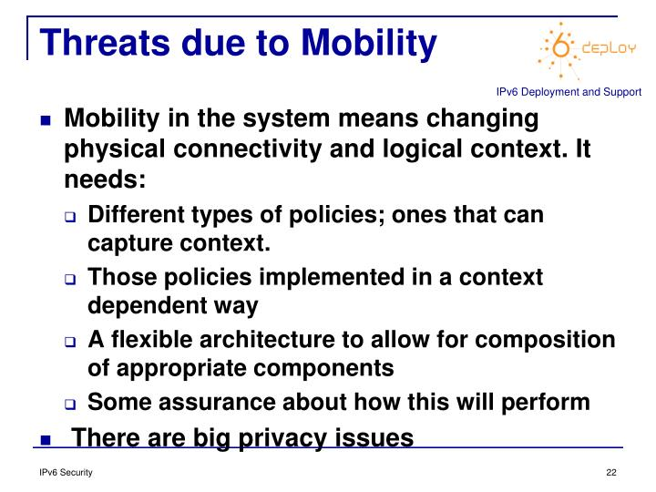 Threats due to Mobility