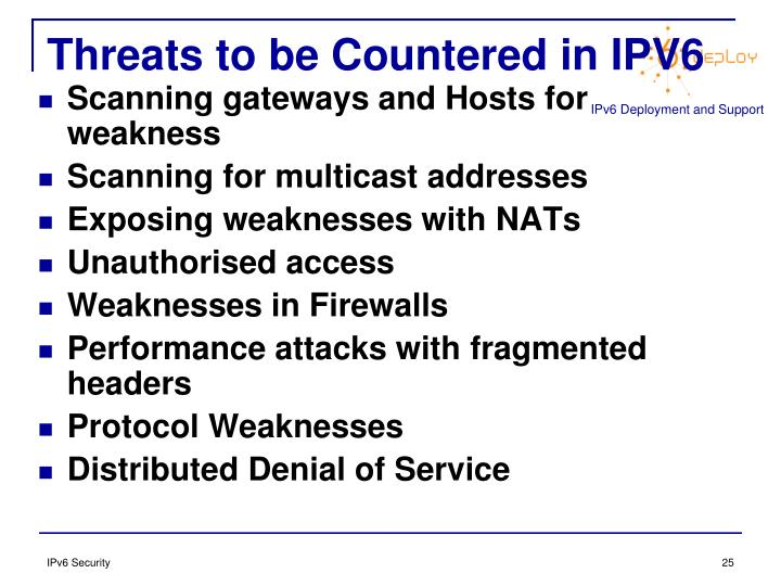 Threats to be Countered in IPV6