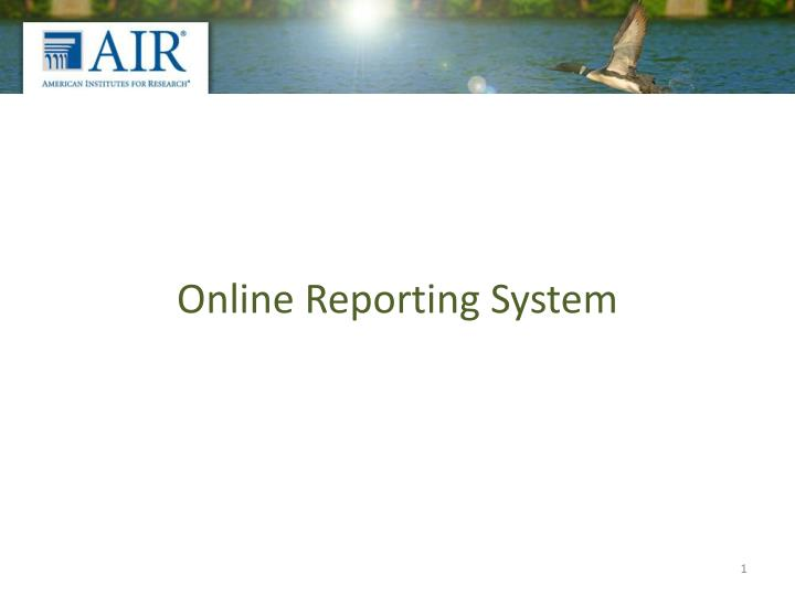 online reporting system n.
